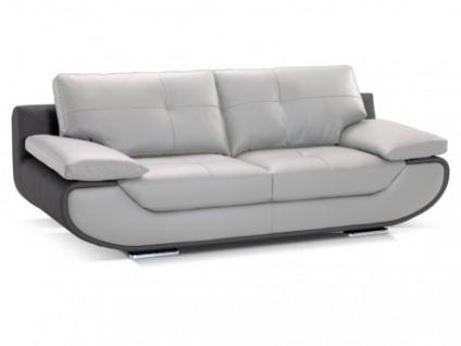 Ledersofa 3-Sitzer Orgullosa- Luxusleder - Zweifarbig: Grau & Anthrazit