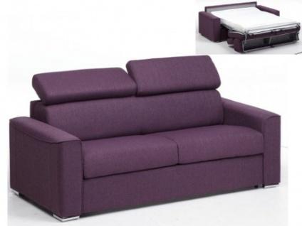 Schlafsofa 3-Sitzer Stoff VIZIR - Violett - Liegefläche: 140 cm - Matratzenhöhe: 14cm