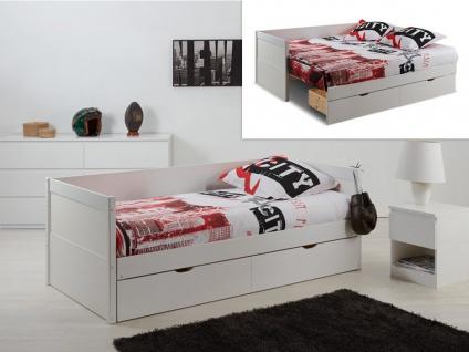 Ausziehbett mit Bettkasten ALFIERO + Lattenrost - 90x190cm - Vorschau 2