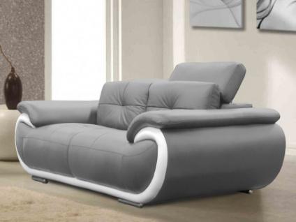 Ledersofa 2-Sitzer Smiley - Grau & Weiß
