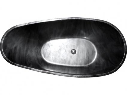 Freistehende Badewanne Marmor-Optik MARBELA - 180x85x58cm - Schwarz - Vorschau 4