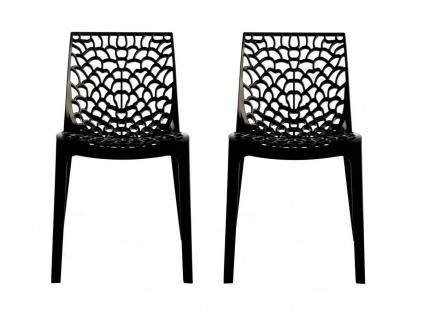 Stuhl 2er-Set stapelbar Diadem - Kunststoff - Anthrazit