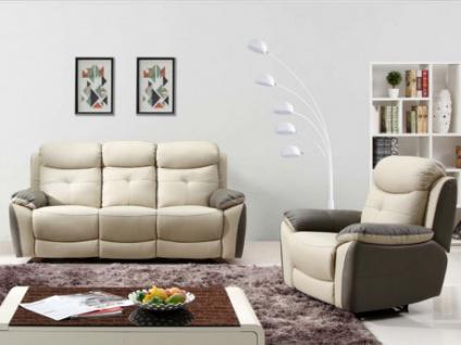 Garnitur Relax 3+1 Leder LUGO - Anthrazit/Taupe