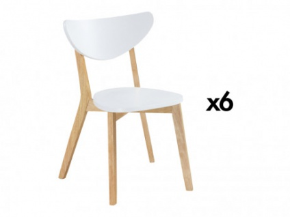 Stuhl Holz massiv 6er-Set CARINE - Weiß