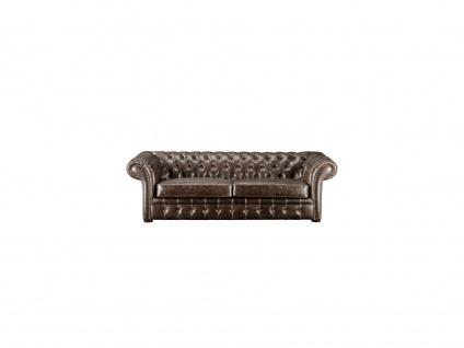 Chesterfield Ledersofa 3-Sitzer CLOTAIRE - Vintage Leder - Braun - Vorschau 2