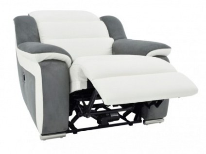 Relaxsessel Leder Microfaser Incliner Arena II - Weiß/Grau