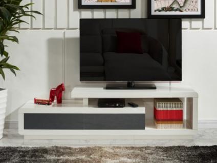 TV-Möbel Hochglanz Artaban - Weiß & Grau