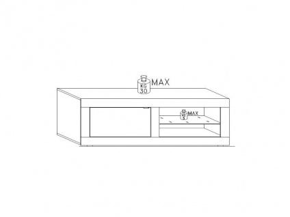 TV-Möbel mit LED-Beleuchtung COMETE - 1 Tür & 1 Ablage - Weiß lackiert & Betonfarben - Vorschau 4