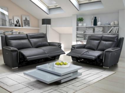 Couchgarnitur Relax Leder Paosa 3+2 - Anthrazit mit hellgrauer Ziernaht