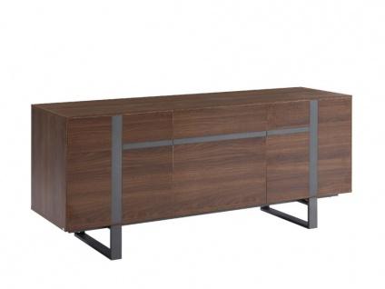 Sideboard PETILLANTE - 3 Türen & 1 Schublade - Nussholzfarben - Vorschau 5