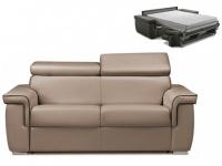 Schlafsofa 2-Sitzer ALTESSE - Taupe mit Ziernaht Braun - Liegefläche: 120cm - Matratzenhöhe: 22cm