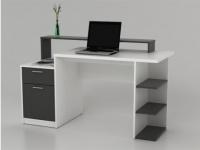 Schreibtisch mit Stauraum Zacharias III - Weiß/Grau