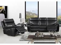 Couchgarnitur 3+1 Relax WIGAN - Schwarz
