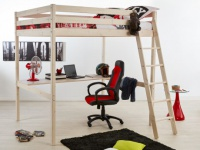 Hochbett Massivholz mit Schreibtisch GEDEON + Lattenrost - 140x190cm