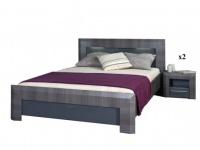 Sparset Britany: Bett in 140 x 190 cm inkl. 2 Nachttische (3-tlg.)