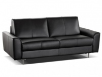 Schlafsofa Leder Express Bettfunktion mit Matratze 3-Sitzer Alphonse - Standardleder - Schwarz