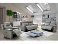 Couchgarnitur Relax Leder Paosa 3+2+1 - Grau mit anthrazitgrauer Ziernaht