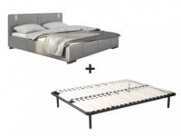 LED-Bett SOREN + Lattenrahmen - 160x200cm - Grau