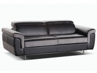 Schlafsofa Leder Express Bettfunktion mit Matratze 3-Sitzer Mayeul - Schwarz & Grau