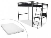 Set Hochbett mit Schreibtisch CASUAL II + Lattenrost + Matratze - 140x190cm - Anthrazit
