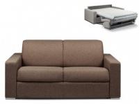 Schlafsofa 2-Sitzer Stoff CALITO - Braun - Liegefläche: 120 cm - Matratzenhöhe: 14cm