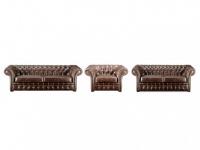 Chesterfield Ledergarnitur Clotaire 3+2+1 - Vintage Leder - Braun