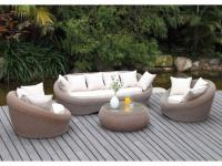 Polyrattan Lounge Sitzgruppe Whiteheaven (4-tlg.) - Karamell & Creme