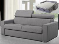 Schlafsofa 3-Sitzer Stoff mit Matratze Vizir - Täglicher Schlafgebrauch - Grau - Liegefläche: 140cm