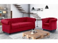 Couchgarnitur 3+1 Samt Chesterfield ANNA - Rot