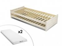 Set Stapelbett Massivholz APOLLIN + Lattenrost + 2 Matratzen - 2x90x200cm