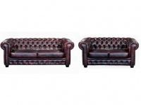 Chesterfield Ledergarnitur Brenton 3+2 - Vintage Leder - Rot-Schwarz