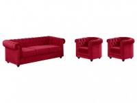 Couchgarnitur 3+1+1 Samt Chesterfield ANNA - Rot