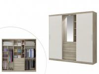 Kleiderschrank BODIL mit Spiegel - 5 Schiebetüren - Eiche-Elfenbein