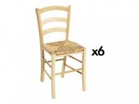 Stuhl 6er-Set Holz massiv PAYSANNE - Natur