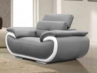 Ledersessel Smiley - Grau & Weiß