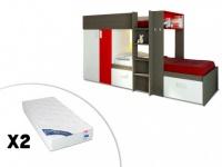 Set Etagenbett JULIEN + Lattenrost + 2 Matratzen - 2x90x190cm - Taupe&Rot