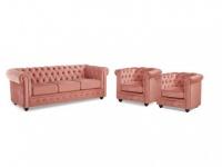 Couchgarnitur 3+1+1 Samt Chesterfield ANNA - Rosa