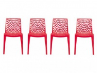 Stuhl 4er-Set Diadem - Kunststoff - Rot
