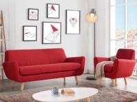 Couchgarnitur 3+1 Stoff Traviata - Rot