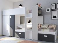 Etagenbett JULIEN + Lattenrost - 2x90x190cm - Weiß/Schwarz