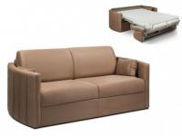 Schlafsofa Stoff Express Bettfunktion mit Matratze 3-Sitzer PHARAON - Karamell