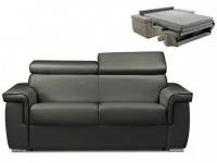 Schlafsofa 2-Sitzer ALTESSE - Anthrazit mit Ziernaht Schwarz - Liegefläche: 120cm - Matratzenhöhe: 18cm