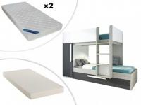 Etagenbett Ausziehbett ANTONIO + Lattenrost + 3 Matratzen - 3x90x190cm - Anthrazit