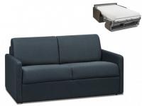 Schlafsofa 2-Sitzer Stoff CALIFE - Marineblau - Liegefläche: 120 cm - Matratzenhöhe: 22cm