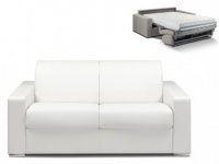 Schlafsofa 2-Sitzer CALITO - Weiß - Liegefläche: 120 cm - Matratzenhöhe: 18cm