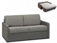 Schlafsofa 2-Sitzer Stoff CALIFE - Hellgrau - Liegefläche: 120 cm - Matratzenhöhe: 14cm