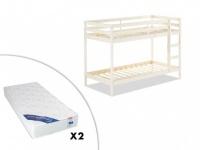 Set Etagenbett Massivholz ANICET + 2 Matratzen - 2x90x190cm - Weiß
