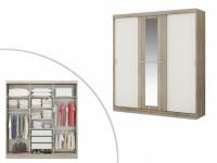 Kleiderschrank Didda - 3 Schiebetüren - Eiche und Elfenbein