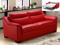 Schlafsofa Leder Express Bettfunktion mit Matratze 3-Sitzer KIGALI - Rot