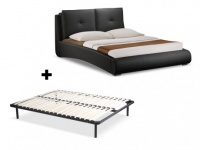 Sparset Bett BERTIN + Lattenrost - 160x200cm - Schwarz